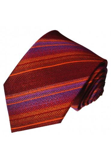 Krawatte 100% Seide Streifen rot violett LORENZO CANA
