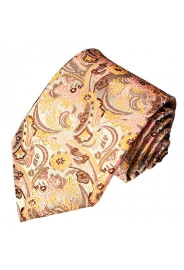 Krawatte 100% Seide Floral beige weinrot LORENZO CANA