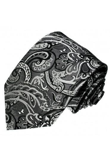 Krawatte 100% Seide Floral grau schwarz silber LORENZO CANA