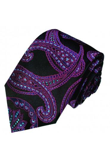 Krawatte 100% Seide Floral schwarz violett lila LORENZO CANA