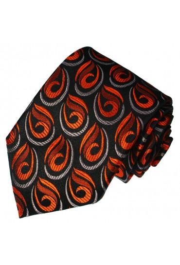 Krawatte 100% Seide Paisley schwarz orange rot LORENZO CANA
