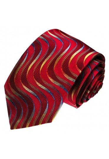 Krawatte 100% Seide Wellen rot weinrot purpurrot LORENZO CANA