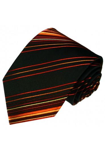 Krawatte 100% Seide Streifen schwarz rot orange LORENZO CANA