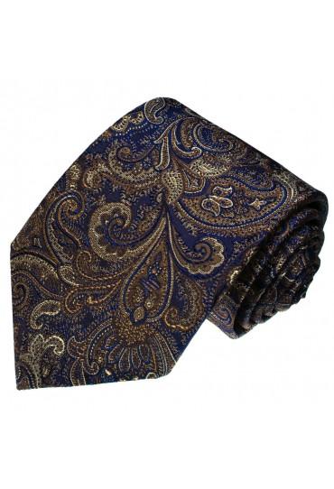 Krawatte 100% Seide Paisley Braun Blau LORENZO CANA