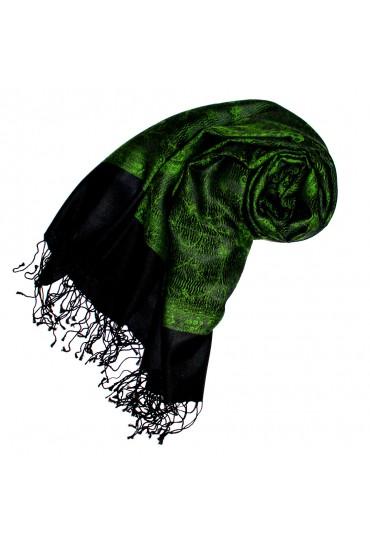 60% Seide und 40% Wolle Pashmina Paisley grasgrün schwarz LORENZO CANA