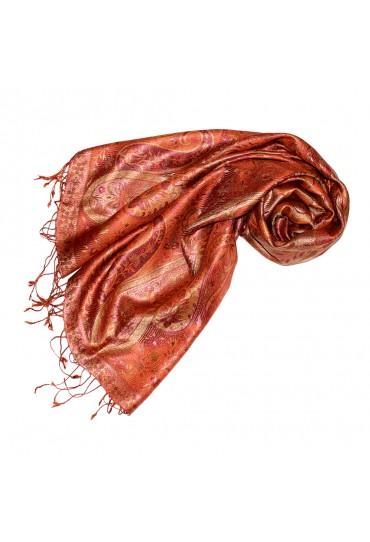 Pashmina 100% Seide Paisley orange rot rost LORENZO CANA