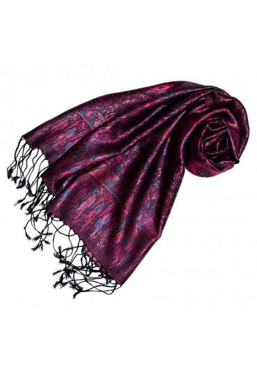 Schal 100% Seide Paisley violett türkis schwarz LORENZO CANA