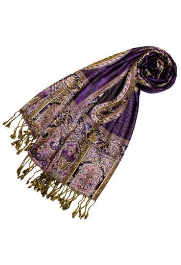 Pashmina 100% Viskose Paisley Floral violett lila gold gelb  LORENZO CANA