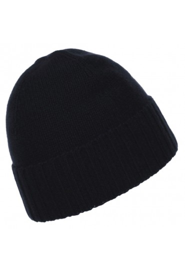 Mütze 100% Kaschmir schwarz anthrazit LORENZO CANA