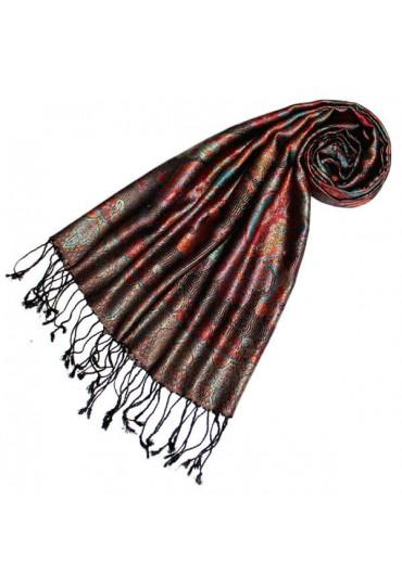 Schal 100% Seide Paisley Rot Blau schwarz LORENZO CANA