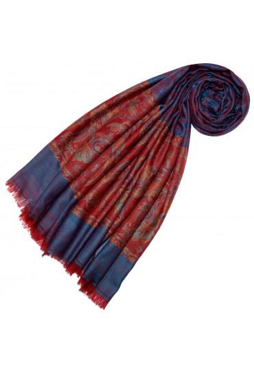 Kaschmirschal Blau Rot Paisley  LORENZO CANA