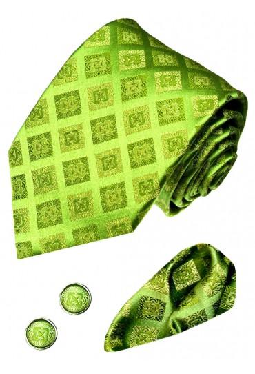 Krawattenset 100% Seide Karo grün hellgrün lindgrün LORENZO CANA