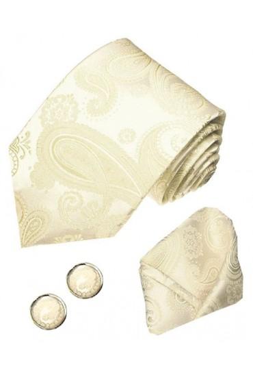 Krawattenset 100% Seide Paisley beige elfenbein creme LORENZO CANA
