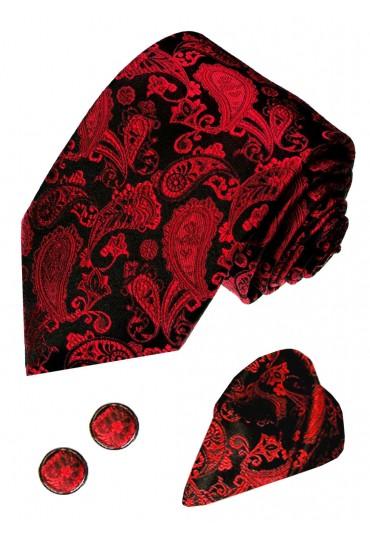 Krawattenset 100% Seide Paisley schwarz dunkelrot LORENZO CANA