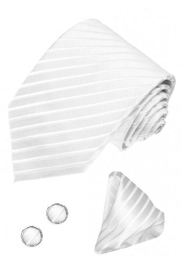Krawattenset 100% Seide Streifen hellsilber silber LORENZO CANA