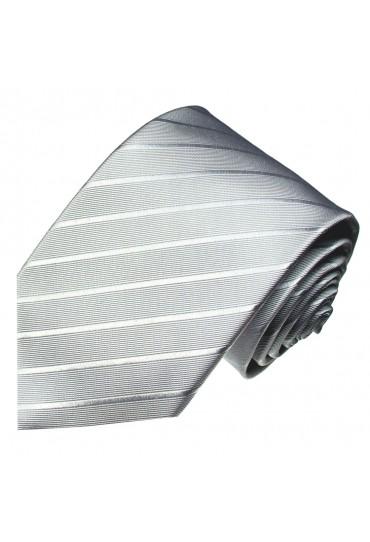 XL Herrenkrawatte 100% Seide Streifen silbergrau LORENZO CANA