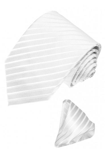 Krawattenset 100% Seide Streifen weiss silber LORENZO CANA