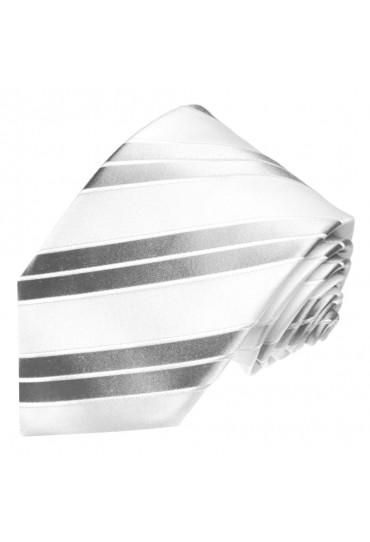 XL Herrenkrawatte 100% Seide Streifen silber weiss LORENZO CANA