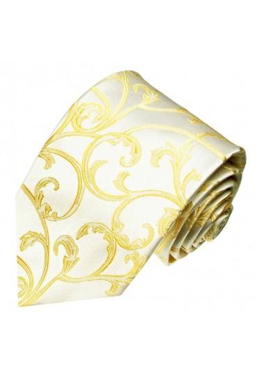 XL Herrenkrawatte 100% Seide Floral beige gold LORENZO CANA