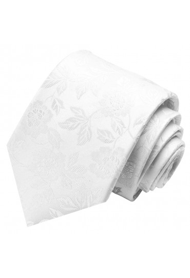 Krawatte 100% Seide Floral weiss hellgrau LORENZO CANA