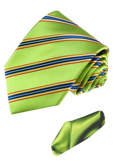 Krawattenset 100% Seide Streifen grasgrün grün LORENZO CANA