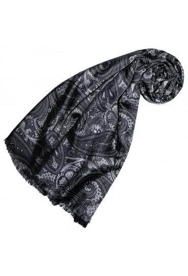Damenschal Damen schwarz grau anthrazit Wolle Paisley LORENZO CANA