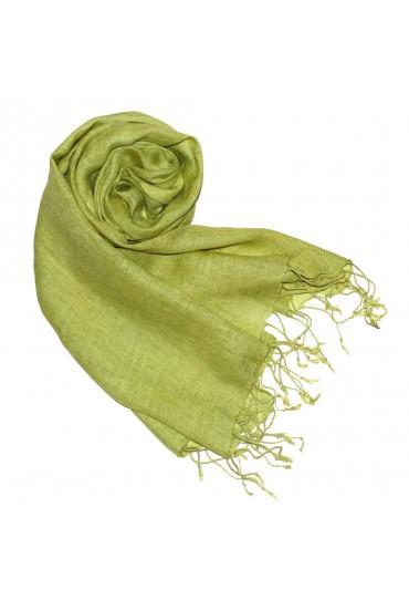 Damenschal 100% Leinen Unifarben grasgrün hellgrün LORENZO CANA