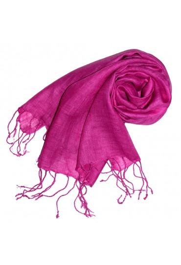 Damenschal 100% Leinen Unifarben pink rosa LORENZO CANA