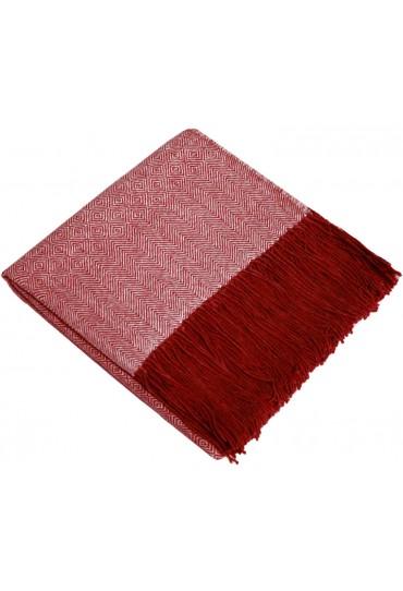 Sofadecke 100% Alpaka Rot Weiß LORENZO CANA