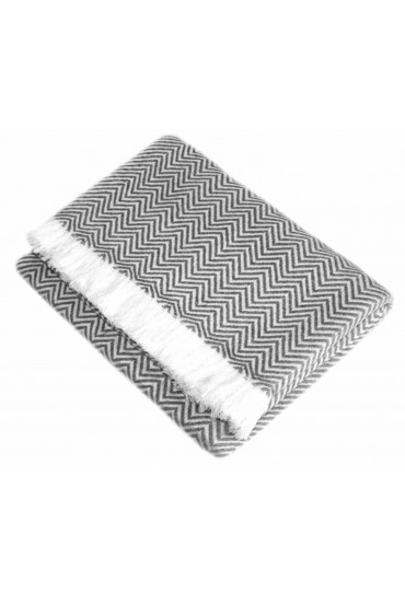 Kaschmir Decke Grau Weiß Streifen LORENZO CANA