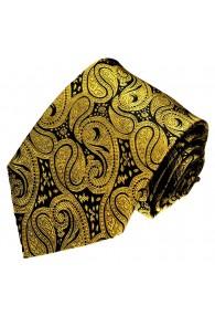 Herrenkrawatte mondänes Paisley schwarz gold LORENZO CANA