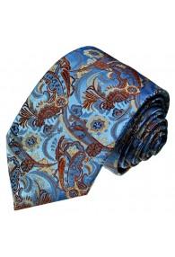 Krawatte 100% Seide Paisley blau rostbraun LORENZO CANA