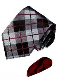 Krawatte 100% Seide Karo Grau Schwarz