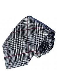 Krawatte 100% Seide Raute silber schwarz rot LORENZO CANA