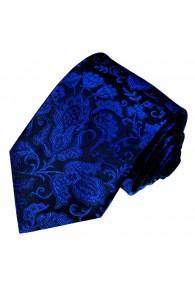 Krawatte 100% Seide Floral königsblau schwarz LORENZO CANA