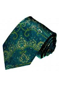 Krawatte 100% Seide Floral türkis grün gelb LORENZO CANA