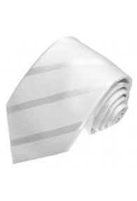 Krawatte 100% Seide Streifen weiss silber LORENZO CANA