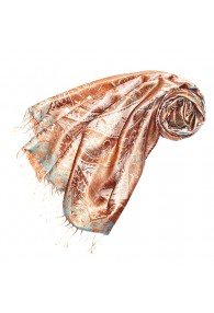Pashmina 100% Seide Paisley orange bronze türkis LORENZO CANA