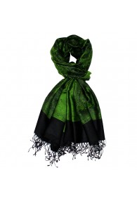Schaltuch Paisley grasgrün schwarz LORENZO CANA