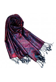 Pashmina 100% Seide Paisley violett rot blau LORENZO CANA