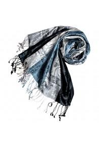 Pashmina 100% Seide Paisley navy blau silber LORENZO CANA