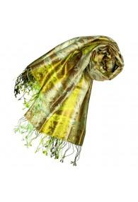 Pashmina 100% Seide Paisley grün gelb oliv LORENZO CANA