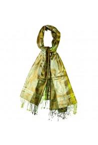Schaltuch Herren 100% Seide Paisley grün gelb oliv LORENZO CANA