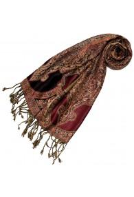 100% Viscose Schal Floral rot braun schwarz LORENZO CANA