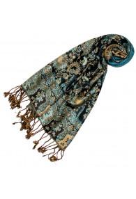 100% Viscose Schal Floral türkis blau beige LORENZO CANA