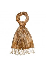 Schal Herren Seide Paisley braun gold beige LORENZO CANA