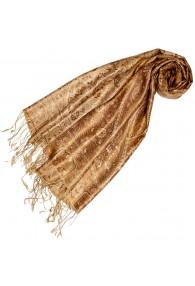 Pashmina 100% Seide Paisley braun gold beige LORENZO CANA