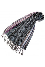 Pashmina 100% Seide Paisley grau schwarz violett LORENZO CANA