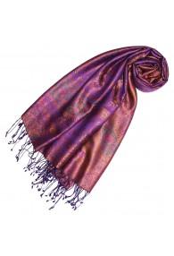 Pashmina 100% Seide Paisley violett orange senf LORENZO CANA