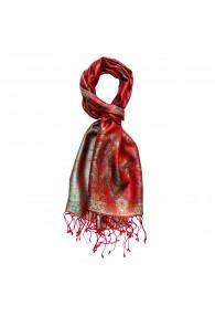 Schal 100% Seide Paisley rot rosenrot türkis LORENZO CANA
